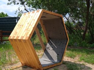 Design Hochbeet, Holz massiv sechseckig