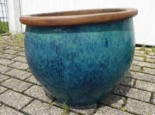 frostfeste Außenkeramik Topf grün-blau