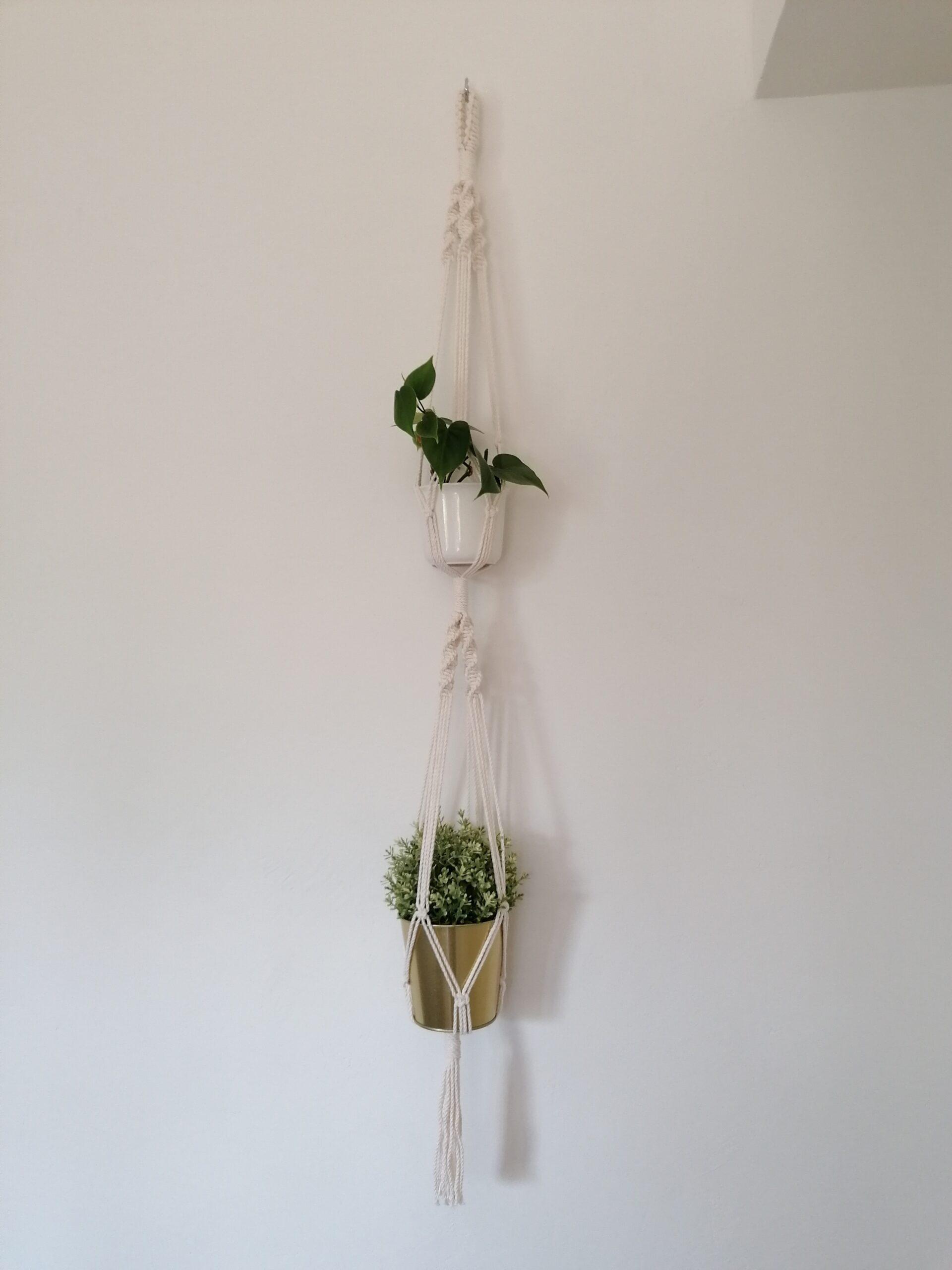 Makramee Pflanzenampel für 2 Töpfe, Blumenampel, macrame plant hanger