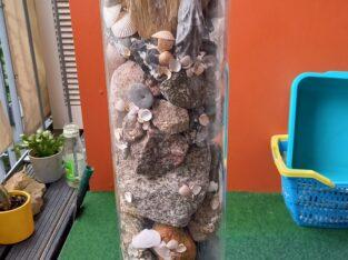 Deko/Topfsäule 98cm hoch, Steine und Muscheln