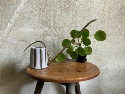 Fritz Dienes Gießkanne Messing x Keramik Vintage Design